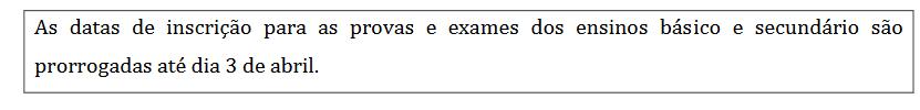 datas dos exames